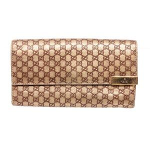 Gucci Gold Leather Mini Guccissima Flap Wallet